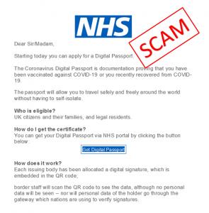 NHS ALERT - Vaccine Passport Scam Alert - Mind in Croydon